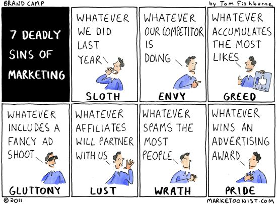 7 deadly sins of marketing cartoon